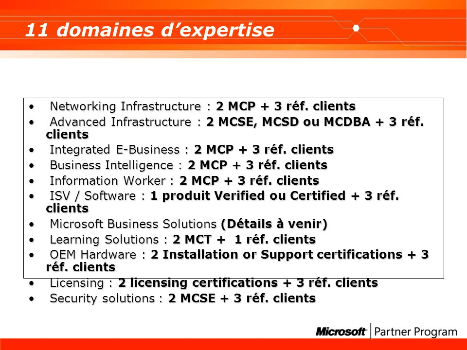 11 domaines dexpertise Networking Infrastructure : 2 MCP + 3 réf. clients Advanced Infrastructure : 2 MCSE, MCSD ou MCDBA + 3 réf. clients Advanced In