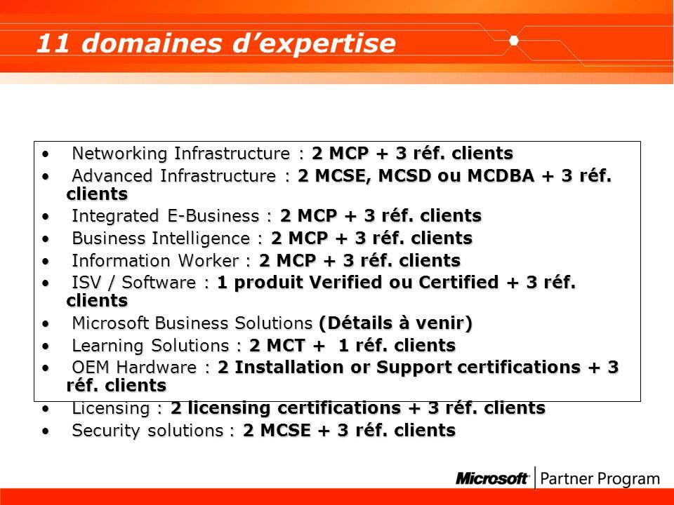 Vous aider dans votre démarche de certification Un dispositif complet autour doffres de formations et de préparation aux certifications auprès des CPLS (nos centres de formation agréés) http://www.microsoft.com/france/formation/centres/default.as p http://www.microsoft.com/france/formation/centres/default.as p Une équipe dédiée au téléphone pour établir avec vous votre scénario de certification : 0825 827 829 Code 1530 Des outils à télécharger : Un guide par Domaine dexpertise contenant la liste des MCPs et les questions des références clients http://members.microsoft.com/partner/france/programmes/in scription/default.aspx http://members.microsoft.com/partner/france/programmes/in scription/default.aspx