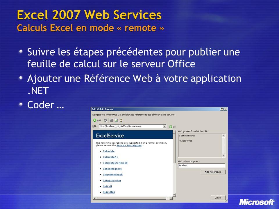 Excel 2007 Web Services Calculs Excel en mode « remote » Suivre les étapes précédentes pour publier une feuille de calcul sur le serveur Office Ajoute