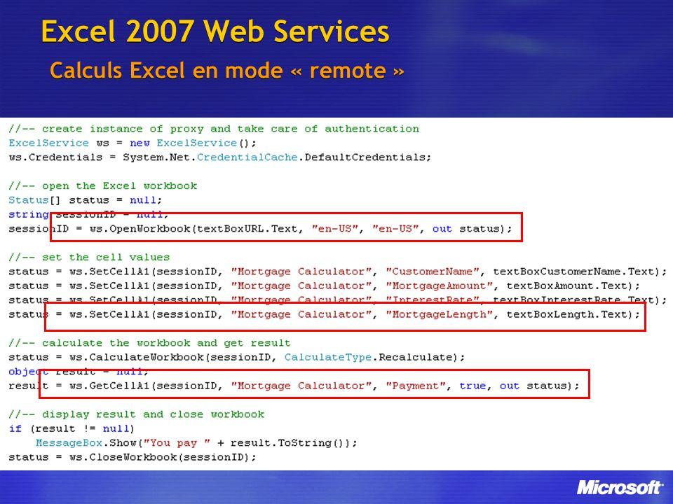 Excel 2007 Web Services Calculs Excel en mode « remote »