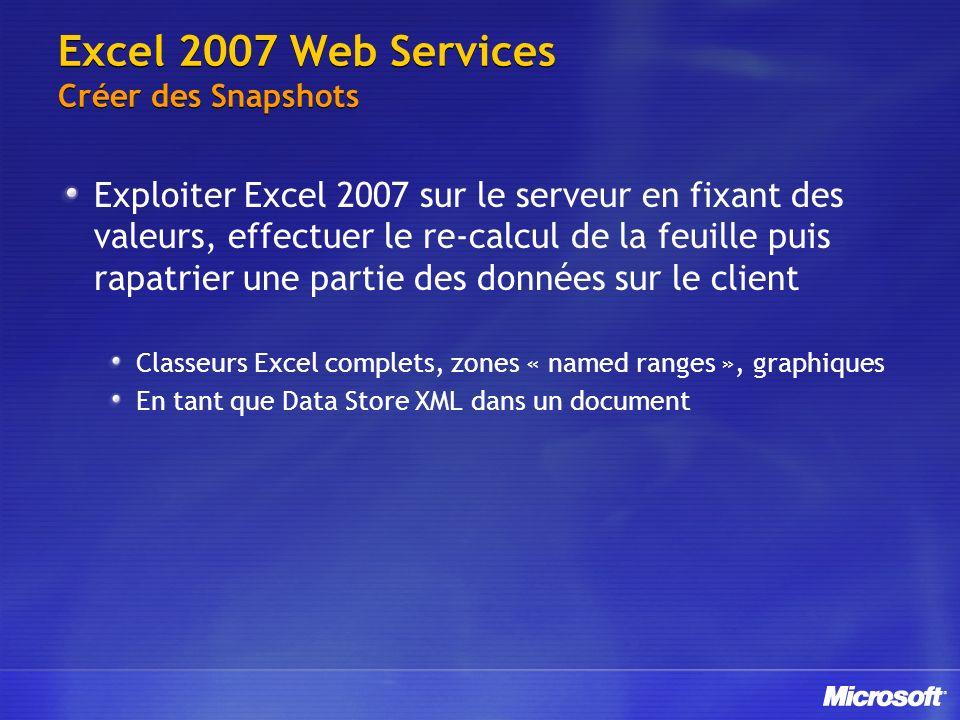 Excel 2007 Web Services Créer des Snapshots Exploiter Excel 2007 sur le serveur en fixant des valeurs, effectuer le re-calcul de la feuille puis rapat