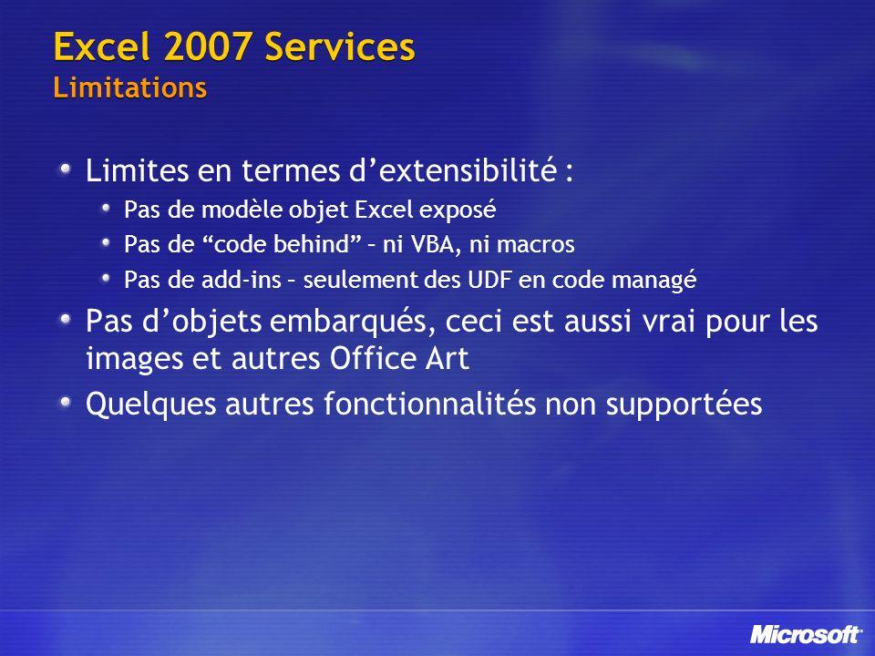 Excel 2007 Services Limitations Limites en termes dextensibilité : Pas de modèle objet Excel exposé Pas de code behind – ni VBA, ni macros Pas de add-