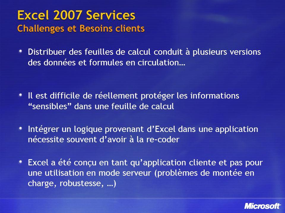 Excel 2007 Services Challenges et Besoins clients Distribuer des feuilles de calcul conduit à plusieurs versions des données et formules en circulatio
