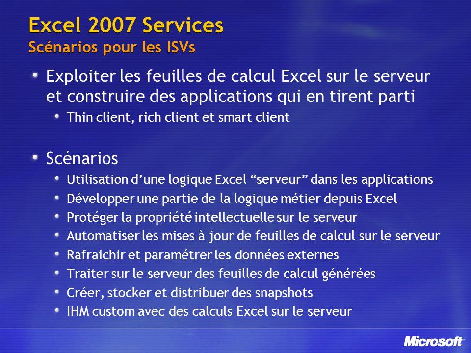 Excel 2007 Services Scénarios pour les ISVs Exploiter les feuilles de calcul Excel sur le serveur et construire des applications qui en tirent parti T