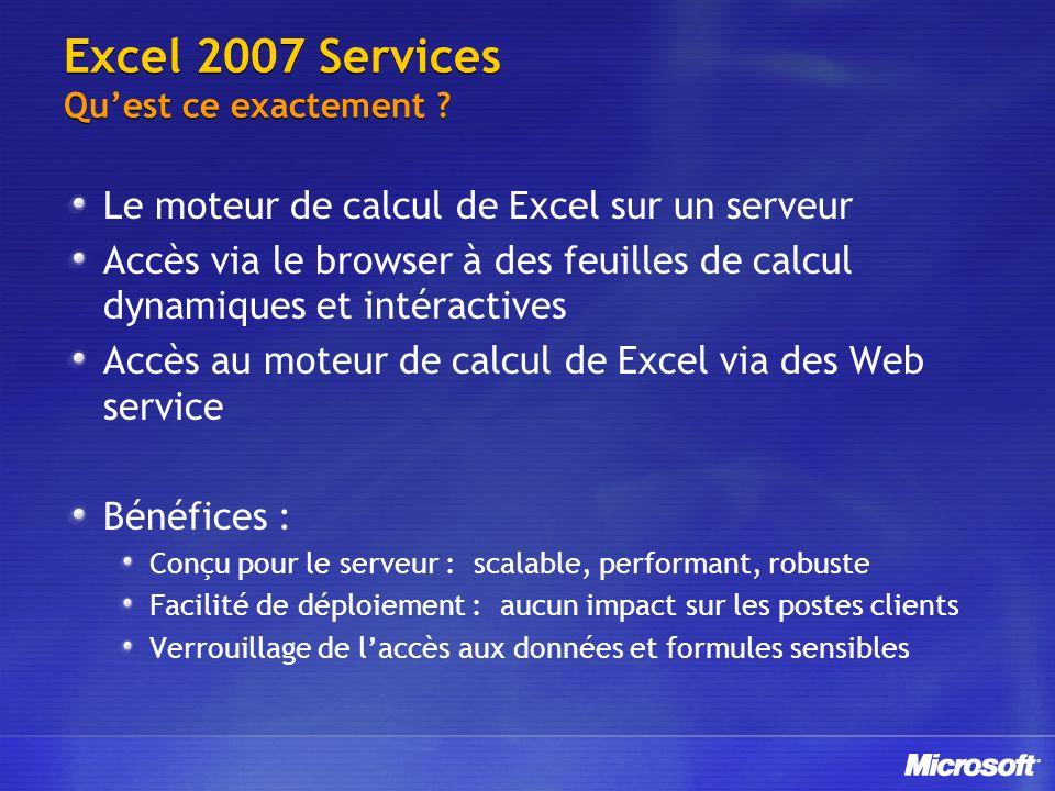 Excel 2007 Services Quest ce exactement ? Le moteur de calcul de Excel sur un serveur Accès via le browser à des feuilles de calcul dynamiques et inté
