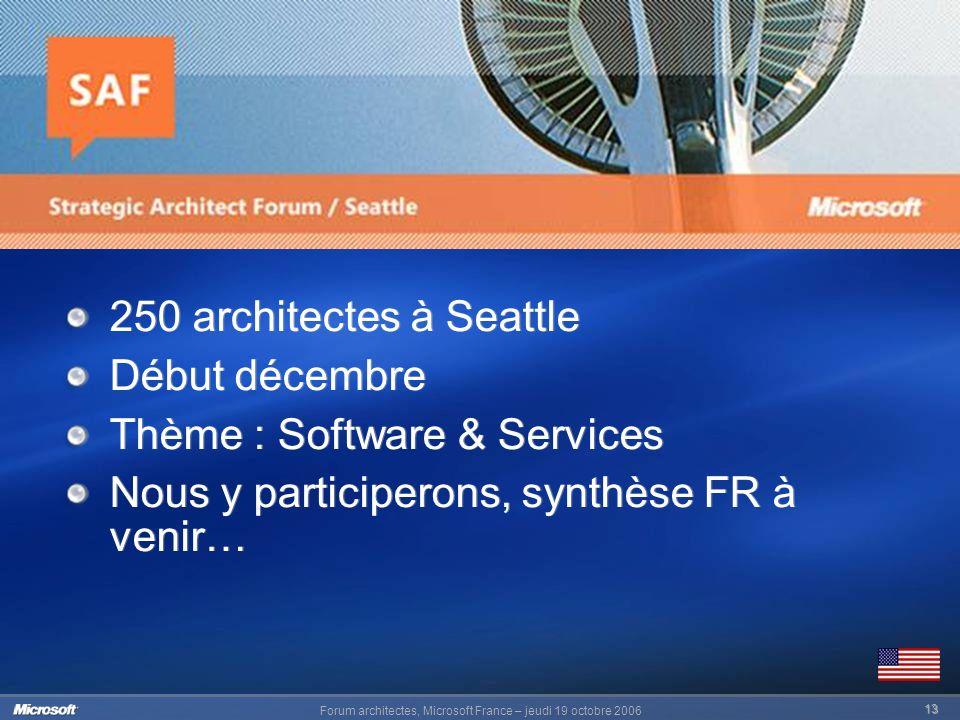 Forum architectes, Microsoft France – jeudi 19 octobre 2006 13 250 architectes à Seattle Début décembre Thème : Software & Services Nous y participerons, synthèse FR à venir… 250 architectes à Seattle Début décembre Thème : Software & Services Nous y participerons, synthèse FR à venir…