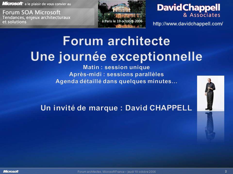 Forum architectes, Microsoft France – jeudi 19 octobre 2006 2 http://www.davidchappell.com/