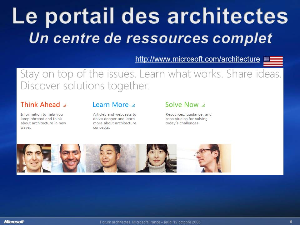 Forum architectes, Microsoft France – jeudi 19 octobre 2006 8 http://www.microsoft.com/architecture