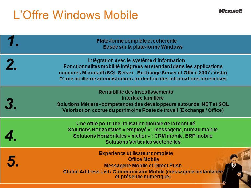 Plate-forme complète et cohérente Basée sur la plate-forme Windows Rentabilité des investissements Interface familière Solutions Métiers - compétences