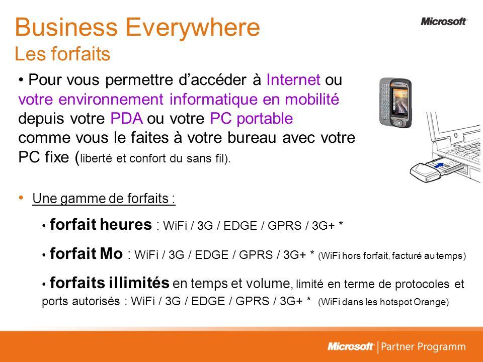 Une gamme de forfaits : forfait heures : WiFi / 3G / EDGE / GPRS / 3G+ * forfait Mo : WiFi / 3G / EDGE / GPRS / 3G+ * (WiFi hors forfait, facturé au t