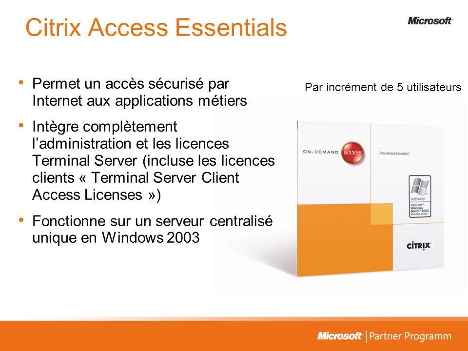 Citrix Access Essentials Permet un accès sécurisé par Internet aux applications métiers Intègre complètement ladministration et les licences Terminal