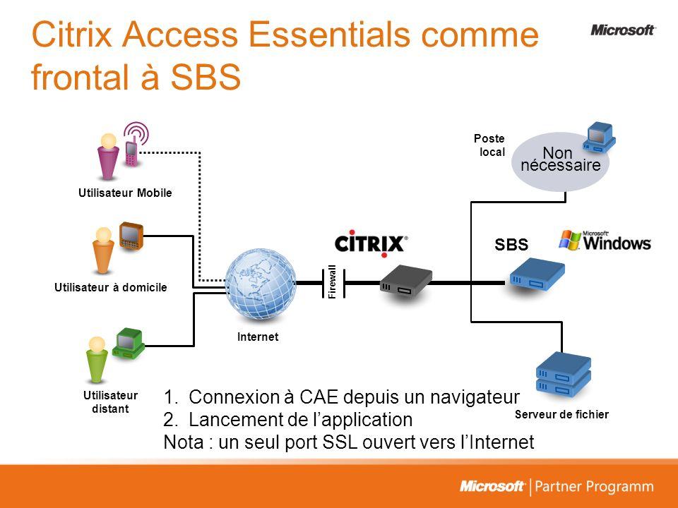 Non nécessaire Poste local Serveur de fichier Internet Firewall SBS Utilisateur Mobile Utilisateur à domicile Utilisateur distant 1.Connexion à CAE de