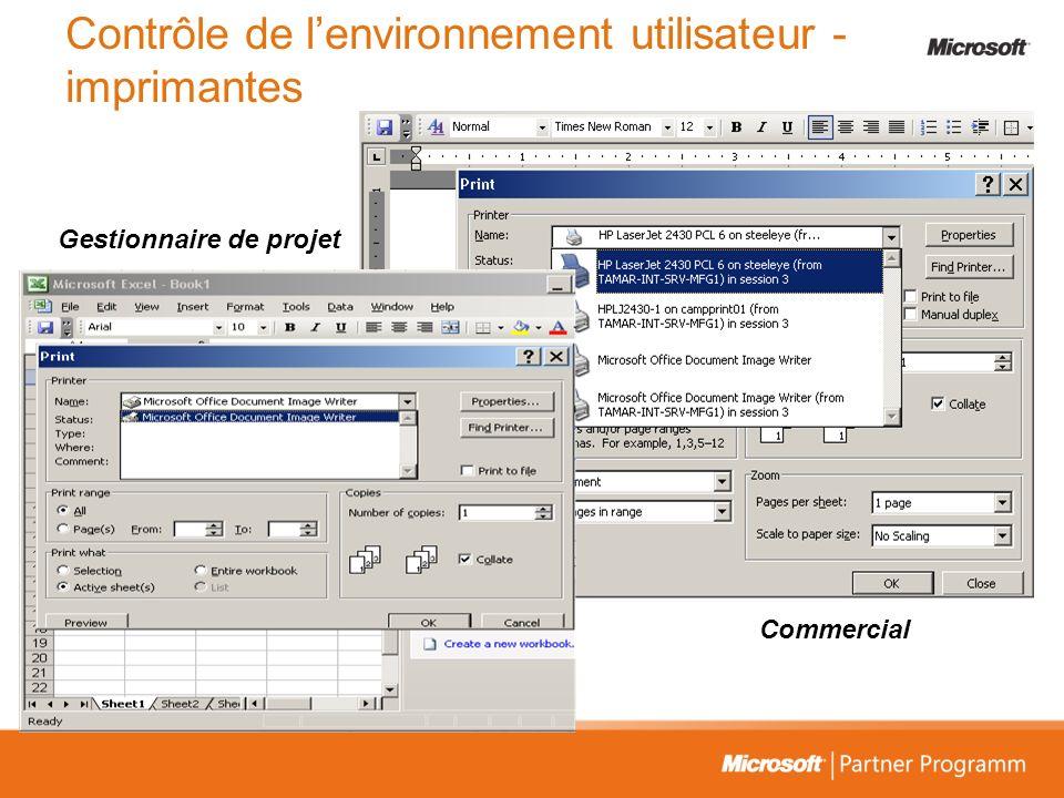 Commercial Gestionnaire de projet Contrôle de lenvironnement utilisateur - imprimantes