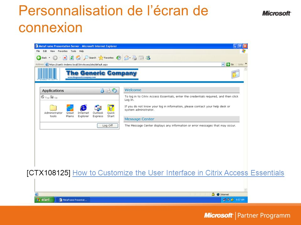 Personnalisation de lécran de connexion [CTX108125]How to Customize the User Interface in Citrix Access Essentials