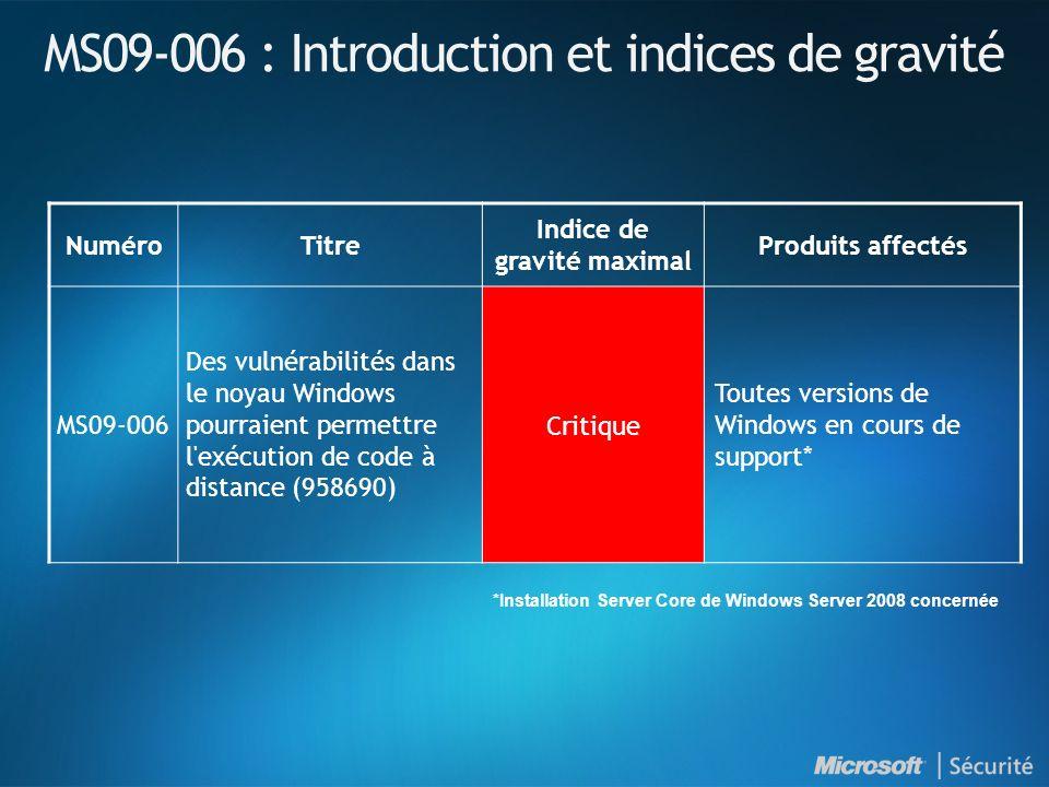 Ressources Synthèse des Bulletins de sécurité http://www.microsoft.com/france/technet/security/bulletin/ms09-mar.mspx Bulletins de sécurité http://www.microsoft.com/france/technet/security/bulletin Webcast des Bulletins de sécurité http://www.microsoft.com/france/technet/security/bulletin/webcasts.mspx Avis de sécurité http://www.microsoft.com/france/technet/security/advisory Abonnez-vous à la synthèse des Bulletins de sécurité (en français) http://www.microsoft.com/france/securite/newsletters.mspx Blog du MSRC (Microsoft Security Response Center) http://blogs.technet.com/msrc Microsoft France sécurité http://www.microsoft.com/france/securite TechNet sécurité http://www.microsoft.com/france/technet/security