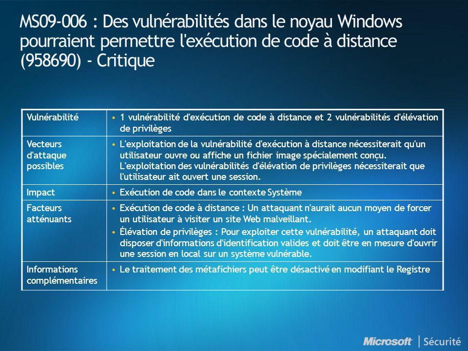 MS09-007 : Introduction et indices de gravité NuméroTitre Indice de gravité maximal Produits affectés MS09-007 Une vulnérabilité dans SChannel pourrait permettre une usurpation de contenu (960225) Important Toutes versions de Windows en cours de support* *Installation Server Core de Windows Server 2008 concernée.