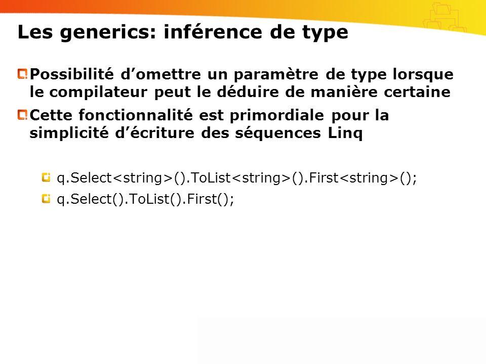 Les generics: inférence de type Possibilité domettre un paramètre de type lorsque le compilateur peut le déduire de manière certaine Cette fonctionnal
