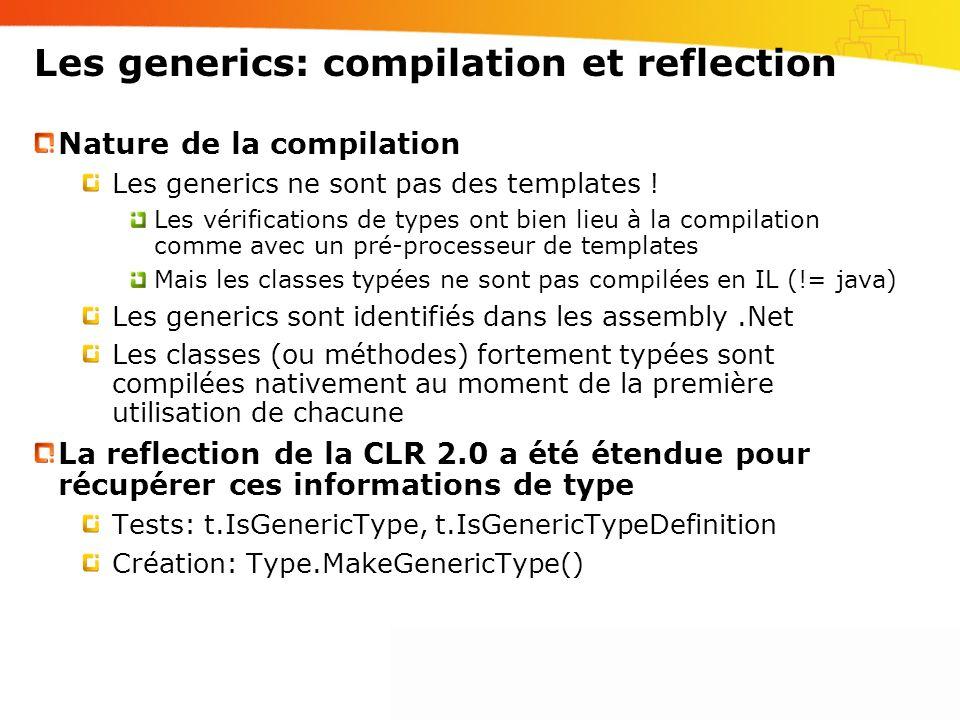 Les generics: compilation et reflection Nature de la compilation Les generics ne sont pas des templates ! Les vérifications de types ont bien lieu à l