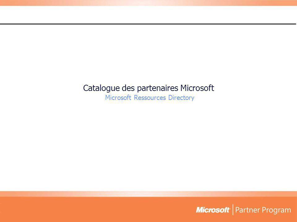 Catalogue des partenaires Microsoft Microsoft Ressources Directory