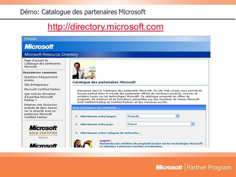 Démo: Catalogue des partenaires Microsoft http://directory.microsoft.com