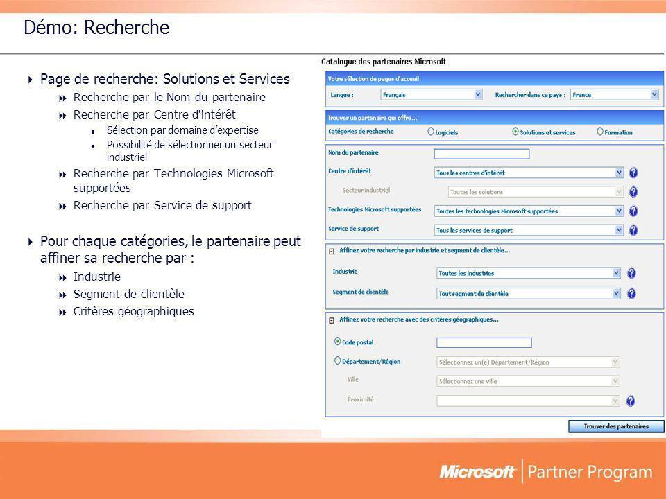 Démo: Recherche Page de recherche: Solutions et Services Recherche par le Nom du partenaire Recherche par Centre d'intérêt Sélection par domaine dexpe