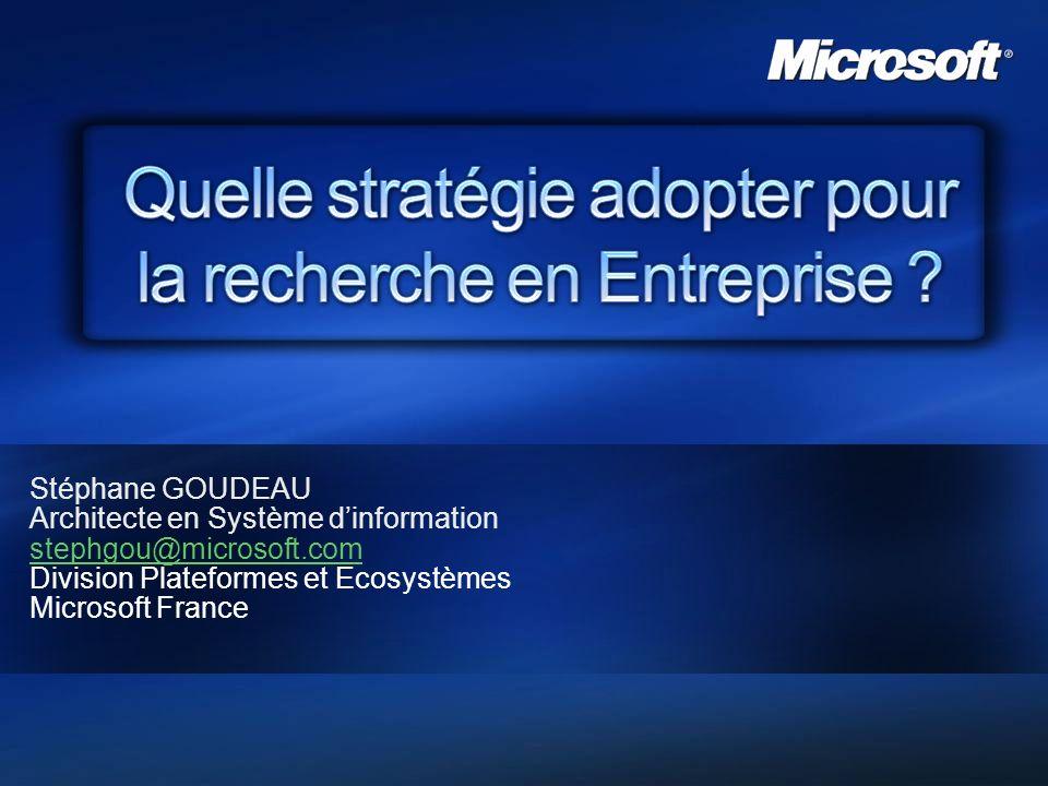 2007 – Microsoft France 22 Principaux Résultats Mots clés correspondant Résultats les plus pertinents Liens Action Onglets de recherche Boîte de recherche Pagination Statistiques Meilleures propositions