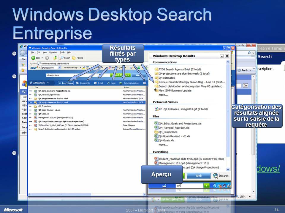 2007 – Microsoft France 14 Téléchargeable sur : http://www.microsoft.com/windows/ desktopsearch/enterprise Recherche sur le PC intuitive et rapide Int