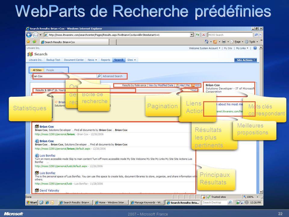 2007 – Microsoft France 22 Principaux Résultats Mots clés correspondant Résultats les plus pertinents Liens Action Onglets de recherche Boîte de reche