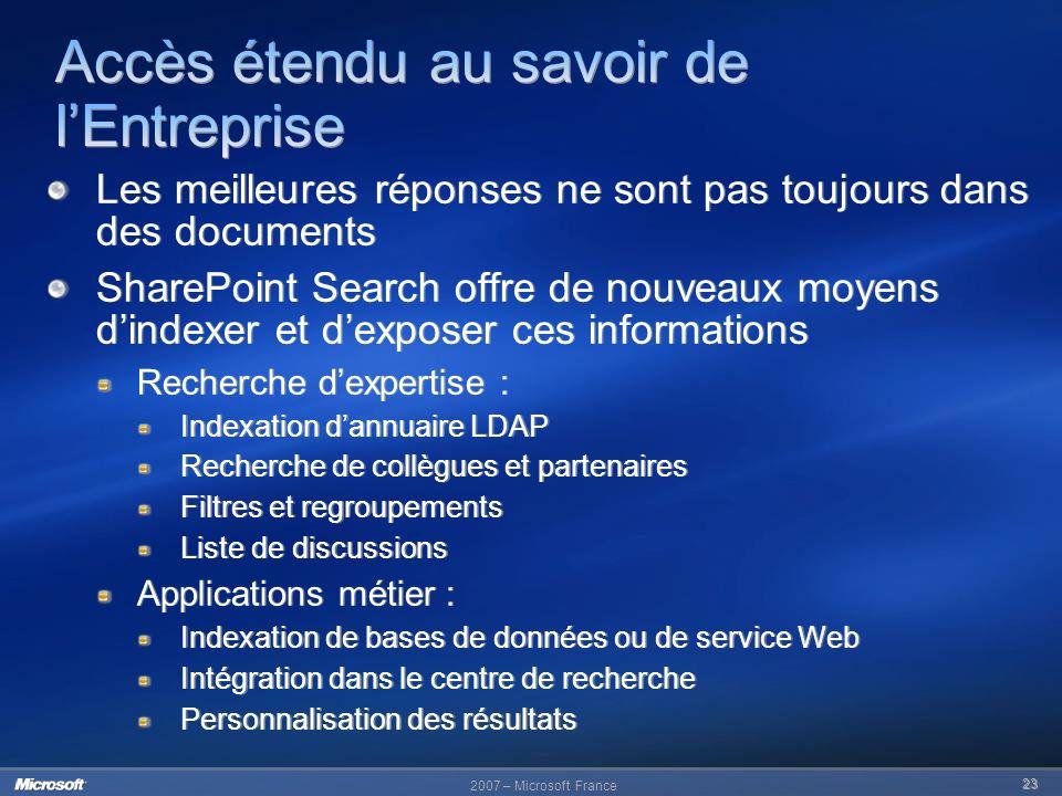 2007 – Microsoft France 23 Les meilleures réponses ne sont pas toujours dans des documents SharePoint Search offre de nouveaux moyens dindexer et dexp
