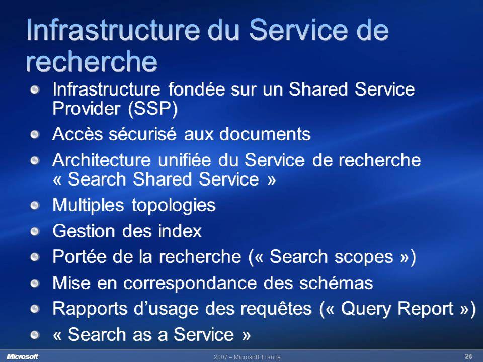 2007 – Microsoft France 26 Infrastructure fondée sur un Shared Service Provider (SSP) Accès sécurisé aux documents Architecture unifiée du Service de