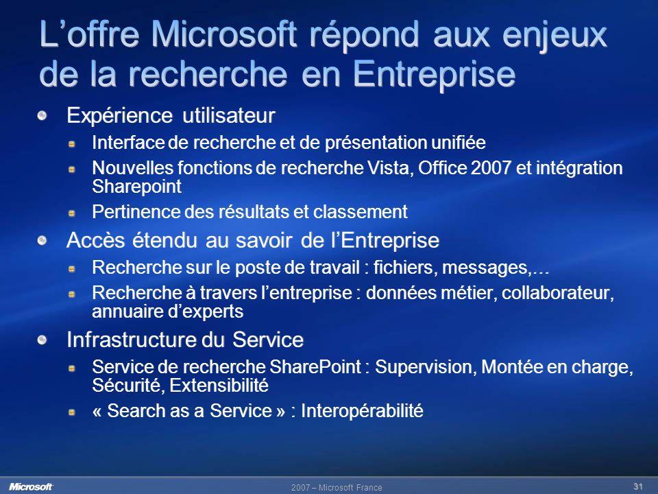 2007 – Microsoft France 31 Expérience utilisateur Interface de recherche et de présentation unifiée Nouvelles fonctions de recherche Vista, Office 200