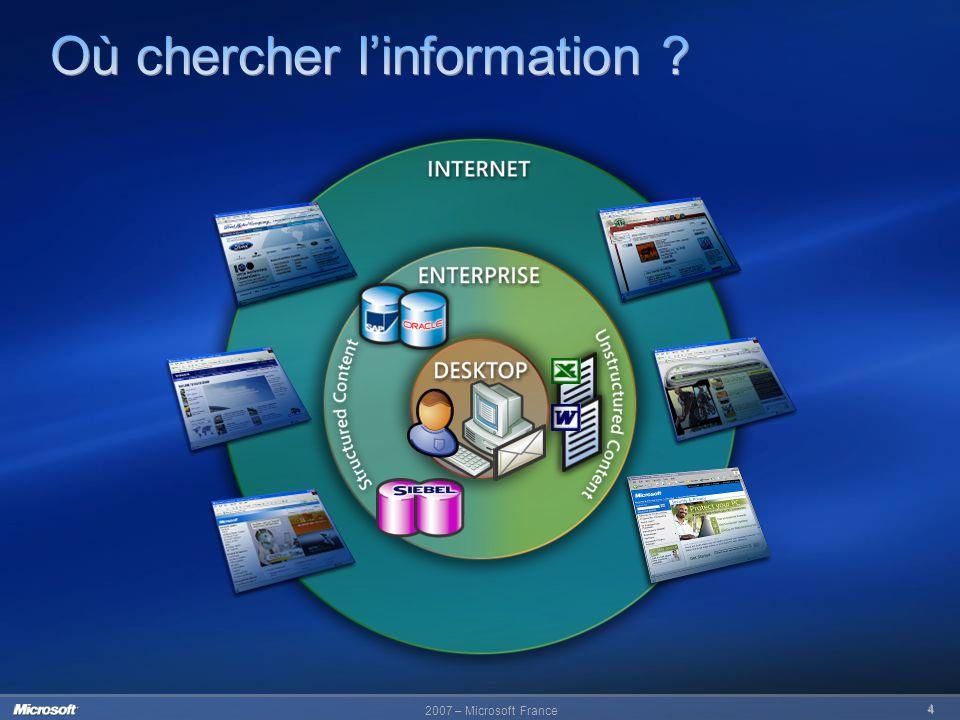 2007 – Microsoft France 15 Options et critères de recherche avancés Recherche transparente dans Outlook 2007 Mise en surbrillance du contenu des messages