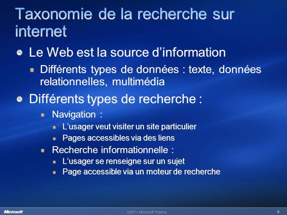 2007 – Microsoft France 8 Le Web est la source dinformation Différents types de données : texte, données relationnelles, multimédia Différents types d