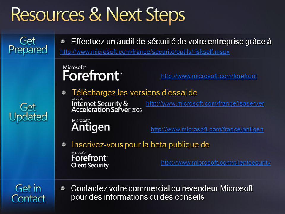 http://www.microsoft.com/france/isaserver http://www.microsoft.com/clientsecurity http://www.microsoft.com/france/antigen Effectuez un audit de sécuri