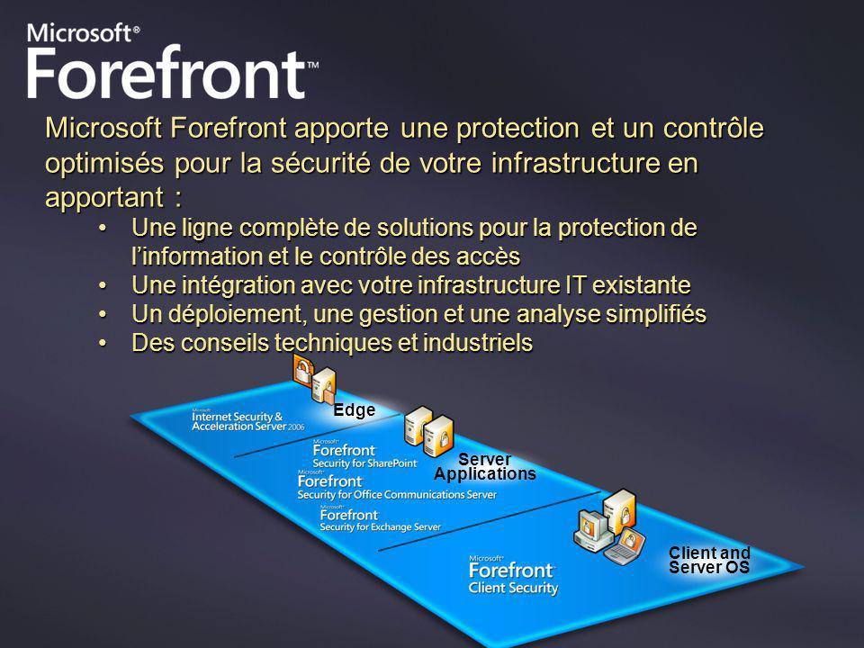 Microsoft Forefront apporte une protection et un contrôle optimisés pour la sécurité de votre infrastructure en apportant : Une ligne complète de solu
