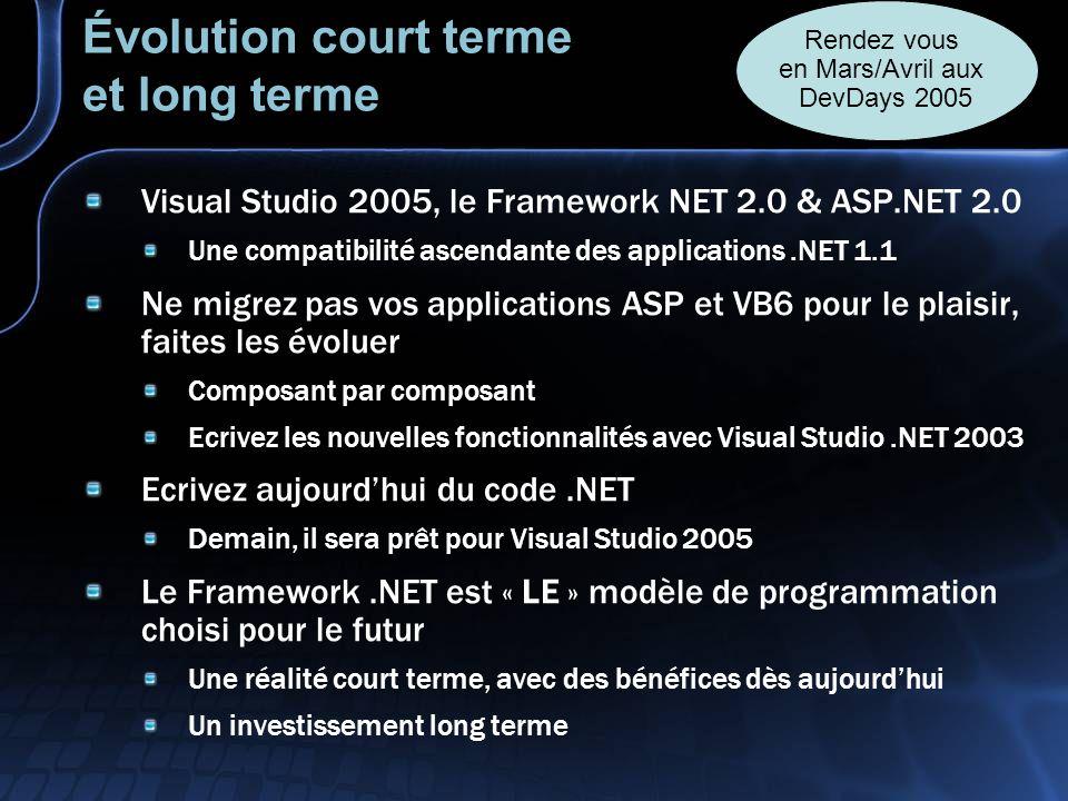 Évolution court terme et long terme Visual Studio 2005, le Framework NET 2.0 & ASP.NET 2.0 Une compatibilité ascendante des applications.NET 1.1 Ne migrez pas vos applications ASP et VB6 pour le plaisir, faites les évoluer Composant par composant Ecrivez les nouvelles fonctionnalités avec Visual Studio.NET 2003 Ecrivez aujourdhui du code.NET Demain, il sera prêt pour Visual Studio 2005 Le Framework.NET est « LE » modèle de programmation choisi pour le futur Une réalité court terme, avec des bénéfices dès aujourdhui Un investissement long terme Rendez vous en Mars/Avril aux DevDays 2005