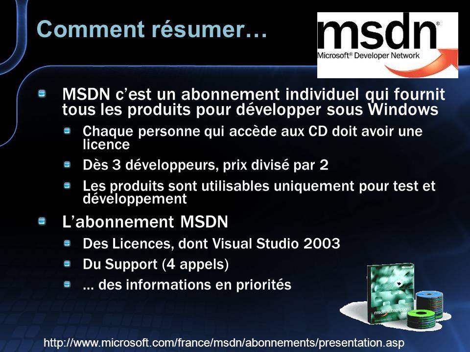 Comment résumer… MSDN cest un abonnement individuel qui fournit tous les produits pour développer sous Windows Chaque personne qui accède aux CD doit avoir une licence Dès 3 développeurs, prix divisé par 2 Les produits sont utilisables uniquement pour test et développement Labonnement MSDN Des Licences, dont Visual Studio 2003 Du Support (4 appels) … des informations en priorités http://www.microsoft.com/france/msdn/abonnements/presentation.asp