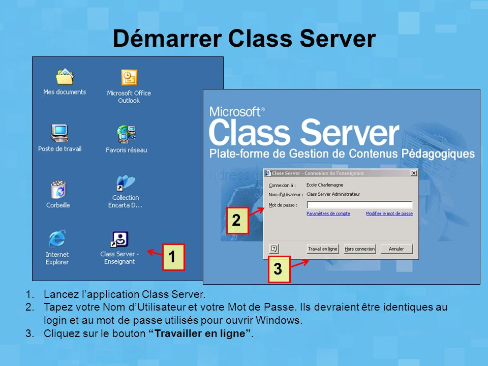 Démarrer Class Server 1.Lancez lapplication Class Server. 2.Tapez votre Nom dUtilisateur et votre Mot de Passe. Ils devraient être identiques au login