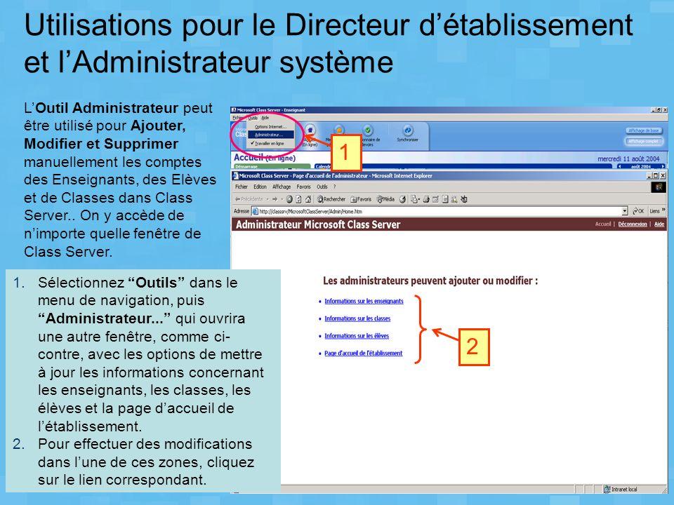 Utilisations pour le Directeur détablissement et lAdministrateur système LOutil Administrateur peut être utilisé pour Ajouter, Modifier et Supprimer m