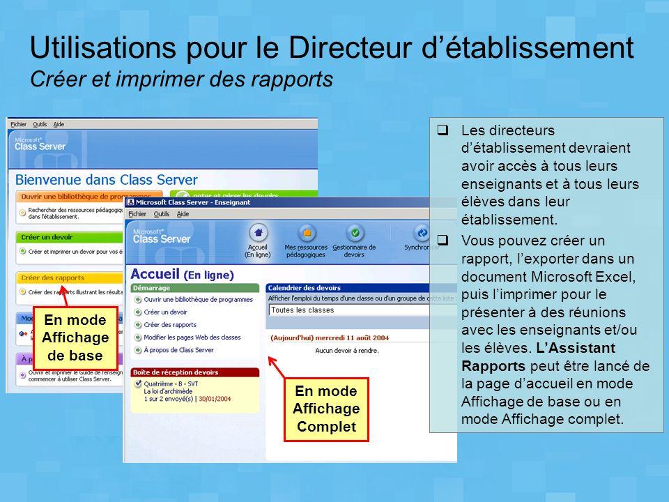 Utilisations pour le Directeur détablissement Créer et imprimer des rapports En mode Affichage de base En mode Affichage Complet Les directeurs détabl
