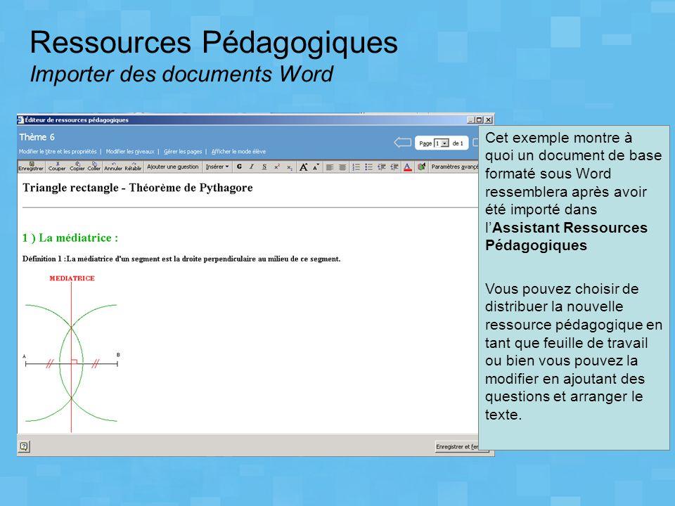 Ressources Pédagogiques Importer des documents Word Cet exemple montre à quoi un document de base formaté sous Word ressemblera après avoir été import