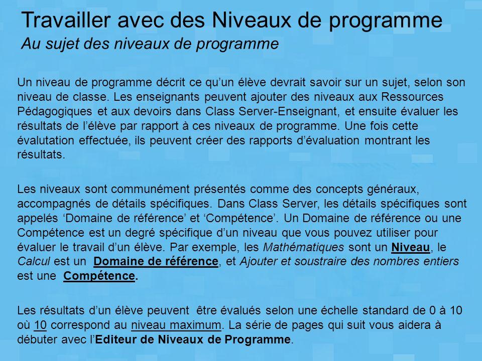 LEditeur de Niveaux de Programme Microsoft peut être installé du CD Class Server 3.0.