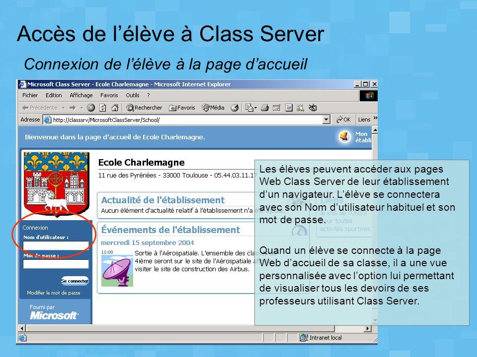 Accès de lélève à Class Server Connexion de lélève à la page daccueil Les élèves peuvent accéder aux pages Web Class Server de leur établissement dun