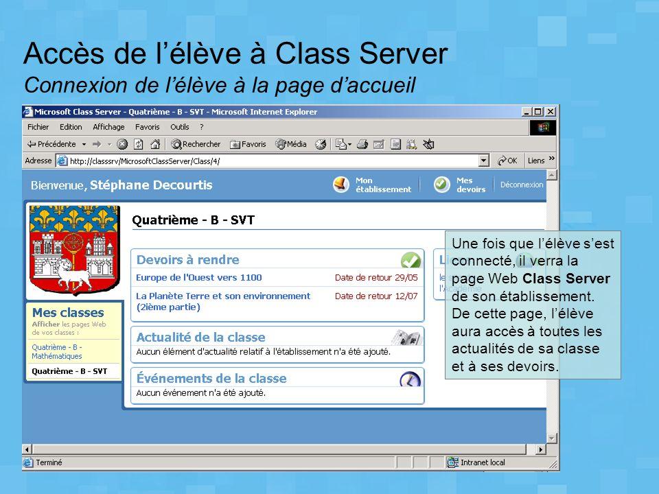 Accès de lélève à Class Server Connexion de lélève à la page daccueil Une fois que lélève sest connecté, il verra la page Web Class Server de son étab
