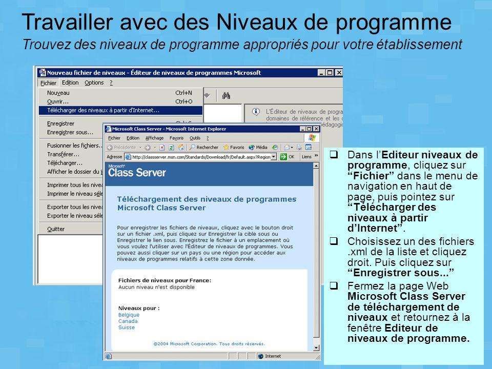 Dans lEditeur niveaux de programme, cliquez sur Fichier dans le menu de navigation en haut de page, puis pointez sur Télécharger des niveaux à partir