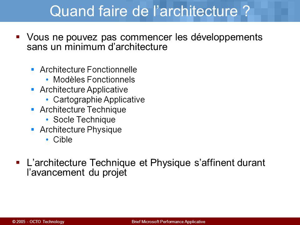 © 2005 - OCTO TechnologyBrief Microsoft Performance Applicative Quand faire de larchitecture .