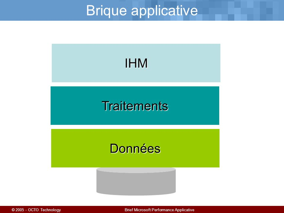 © 2005 - OCTO TechnologyBrief Microsoft Performance Applicative Brique applicativeIHM Traitements Données