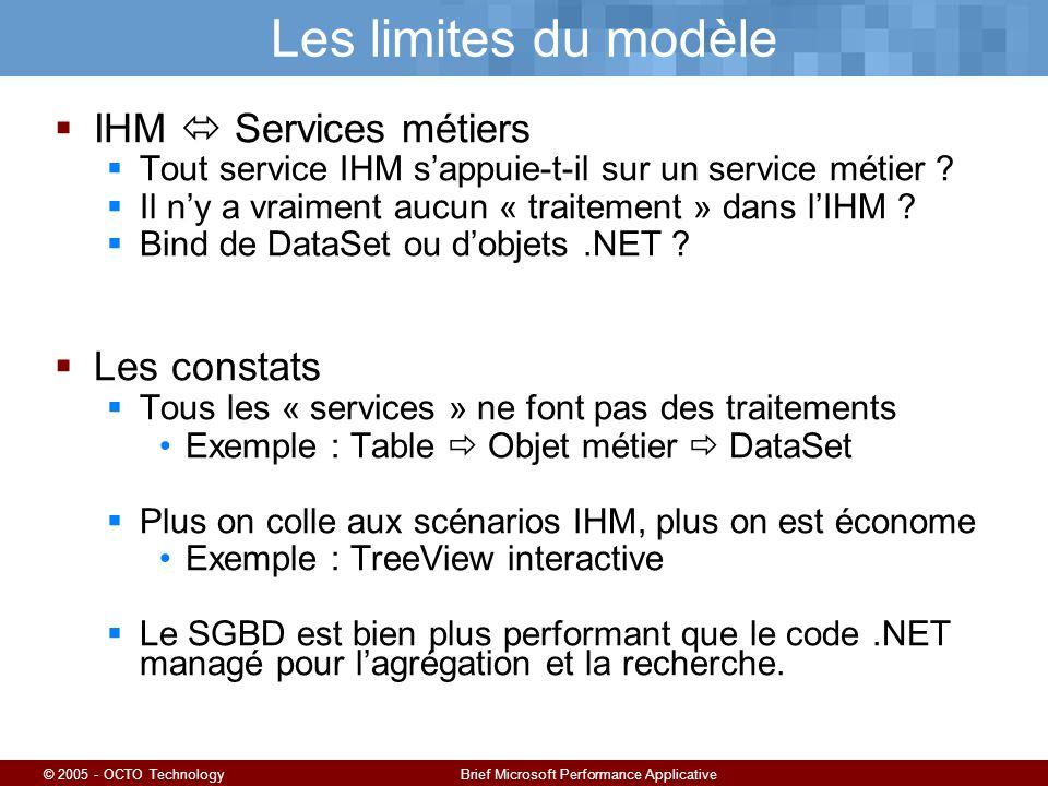 © 2005 - OCTO TechnologyBrief Microsoft Performance Applicative Les limites du modèle IHM Services métiers Tout service IHM sappuie-t-il sur un service métier .