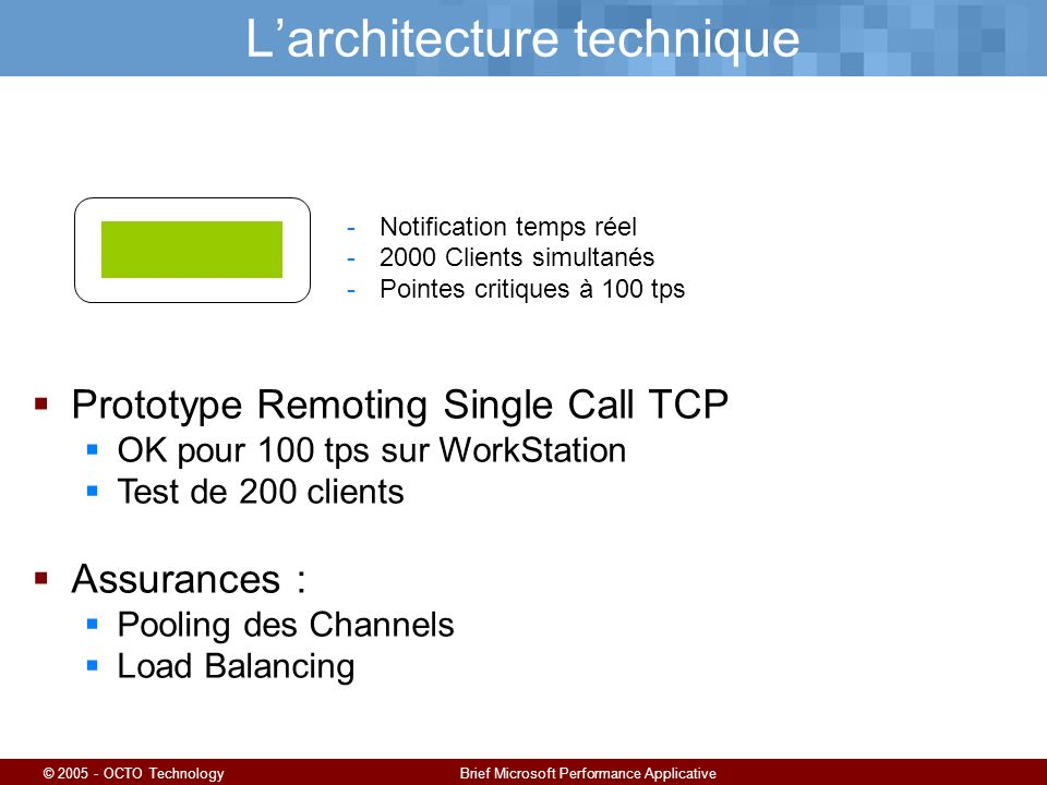 © 2005 - OCTO TechnologyBrief Microsoft Performance Applicative Larchitecture technique -Notification temps réel -2000 Clients simultanés -Pointes cri