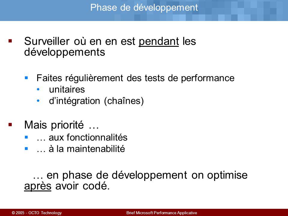 © 2005 - OCTO TechnologyBrief Microsoft Performance Applicative Phase de développement Surveiller où en en est pendant les développements Faites régulièrement des tests de performance unitaires dintégration (chaînes) Mais priorité … … aux fonctionnalités … à la maintenabilité … en phase de développement on optimise après avoir codé.